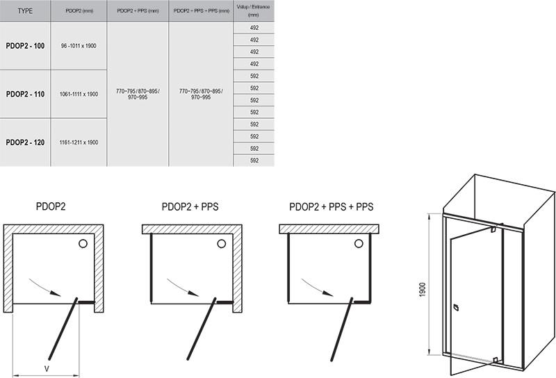 Душові двері Pivot PDOP2