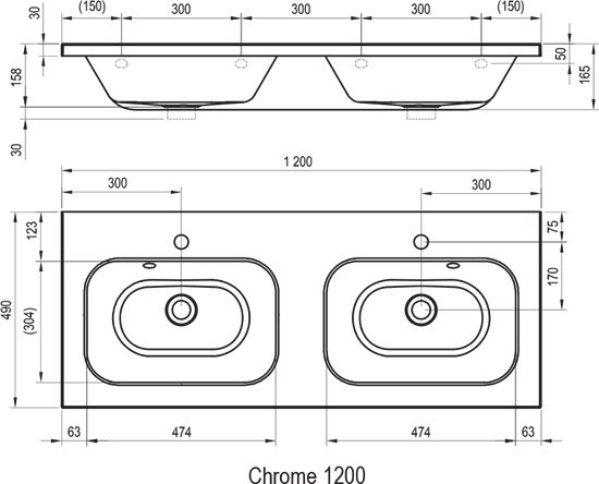 Двойной умывальник Chrome 1200