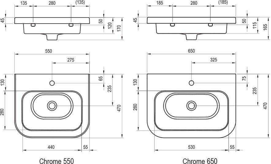 Керамический умывальник Chrome 550/650